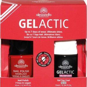 Gelactic Nail Set Red 2ER spalva + topas (10ml+10ml)
